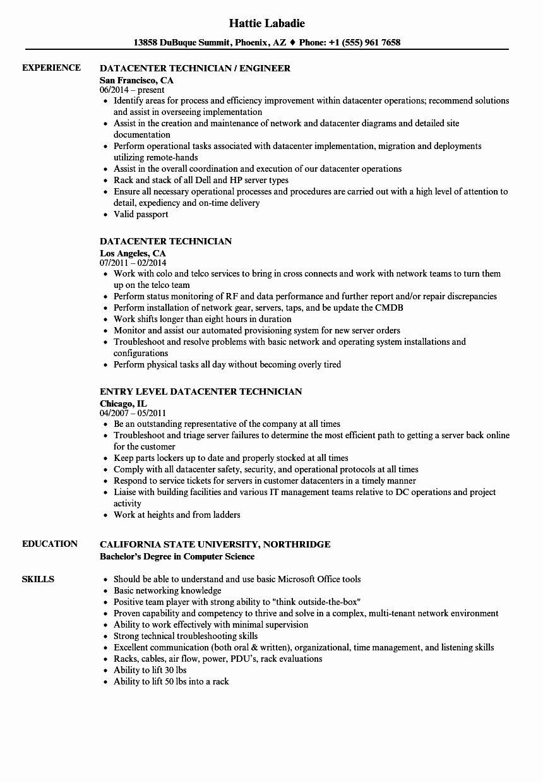 Computer Technician Job Description Resume Fresh