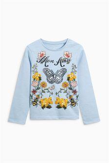 Голубая футболка с бабочками (3 мес.-6 лет)