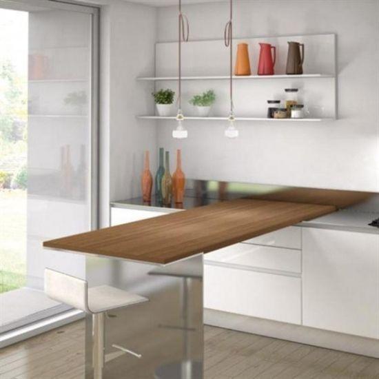 Ideen Küchengestaltung Kleine Räume Klapptisch