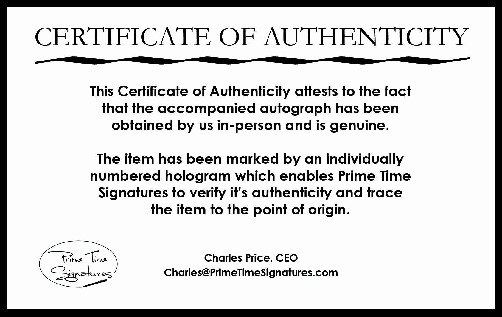 25 Certificate Of Authenticity Autograph Template in 2020