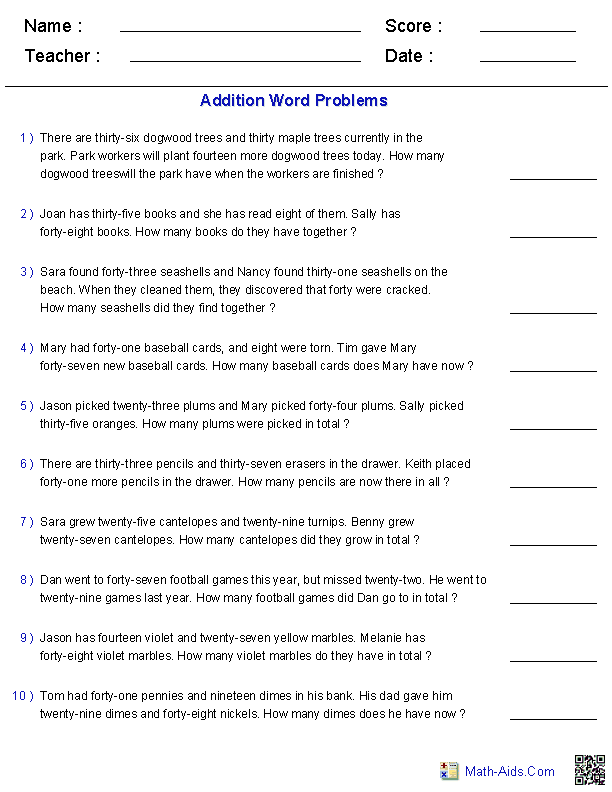 Addition Word Problems takes a load of work off of me creating new – 3rd Grade Word Problems Worksheets