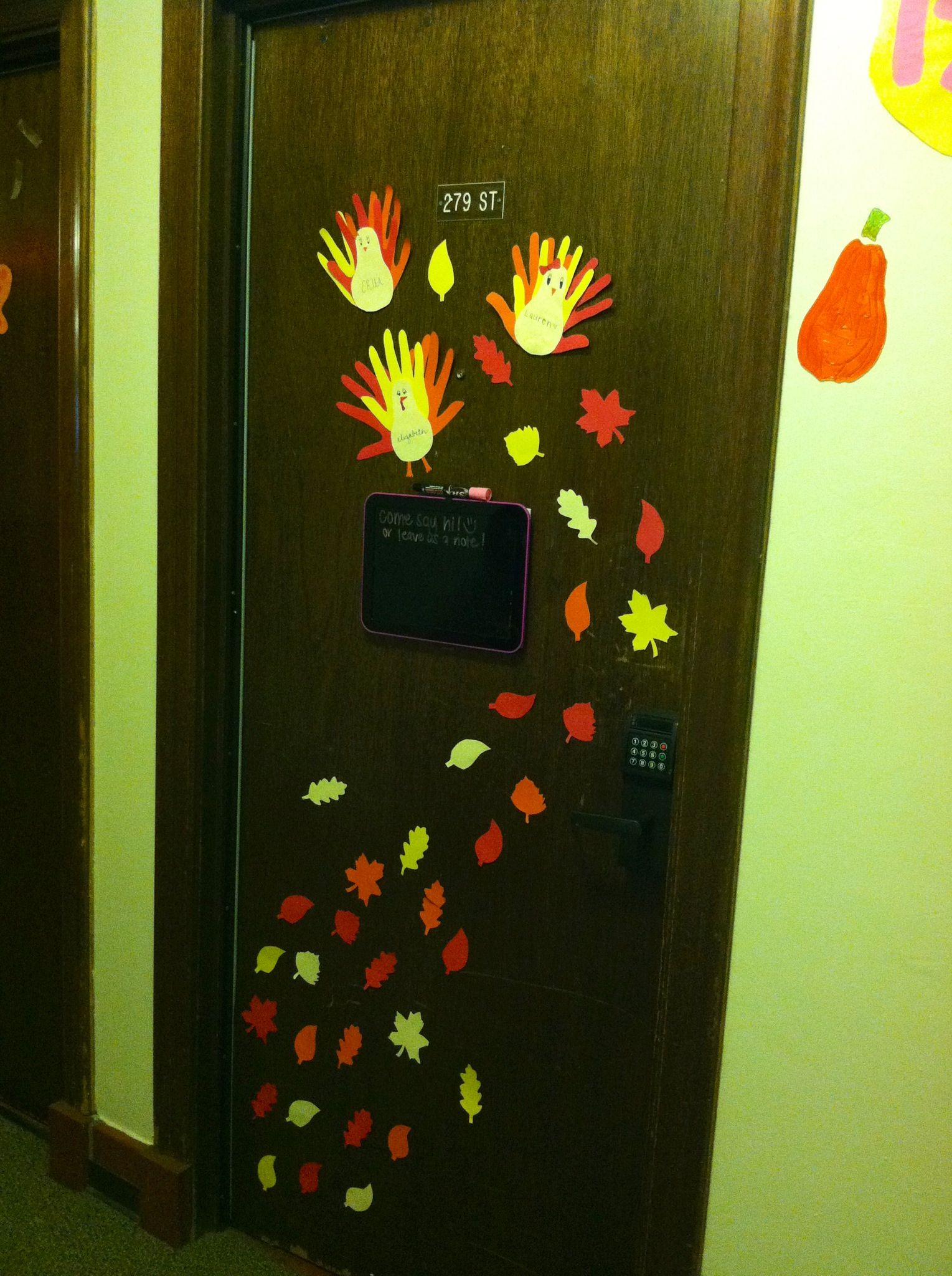 Thanksgiving / fall dorm door decoration