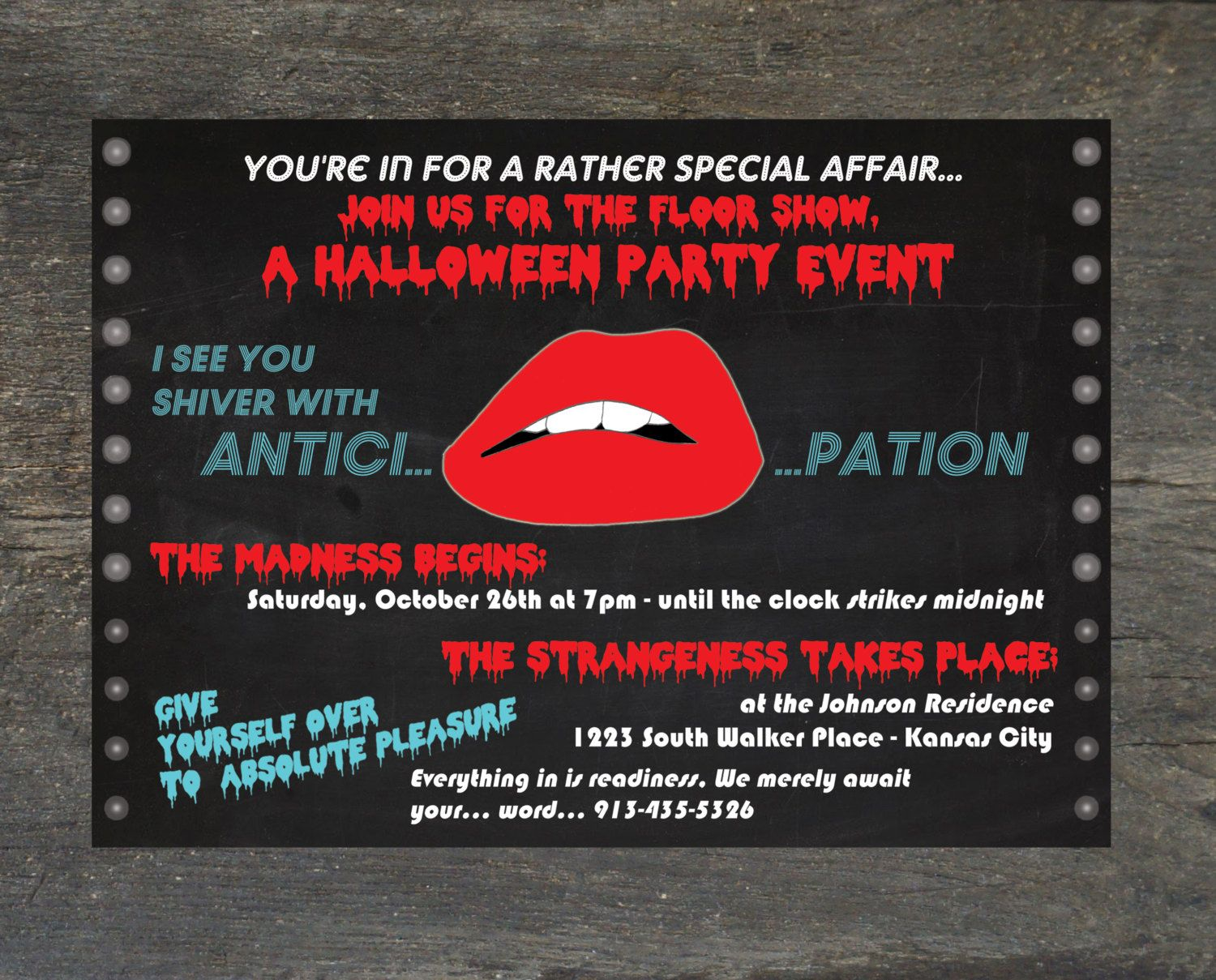 Halloween Party Invitation, Costume Party - Rocky Horror Picture ...