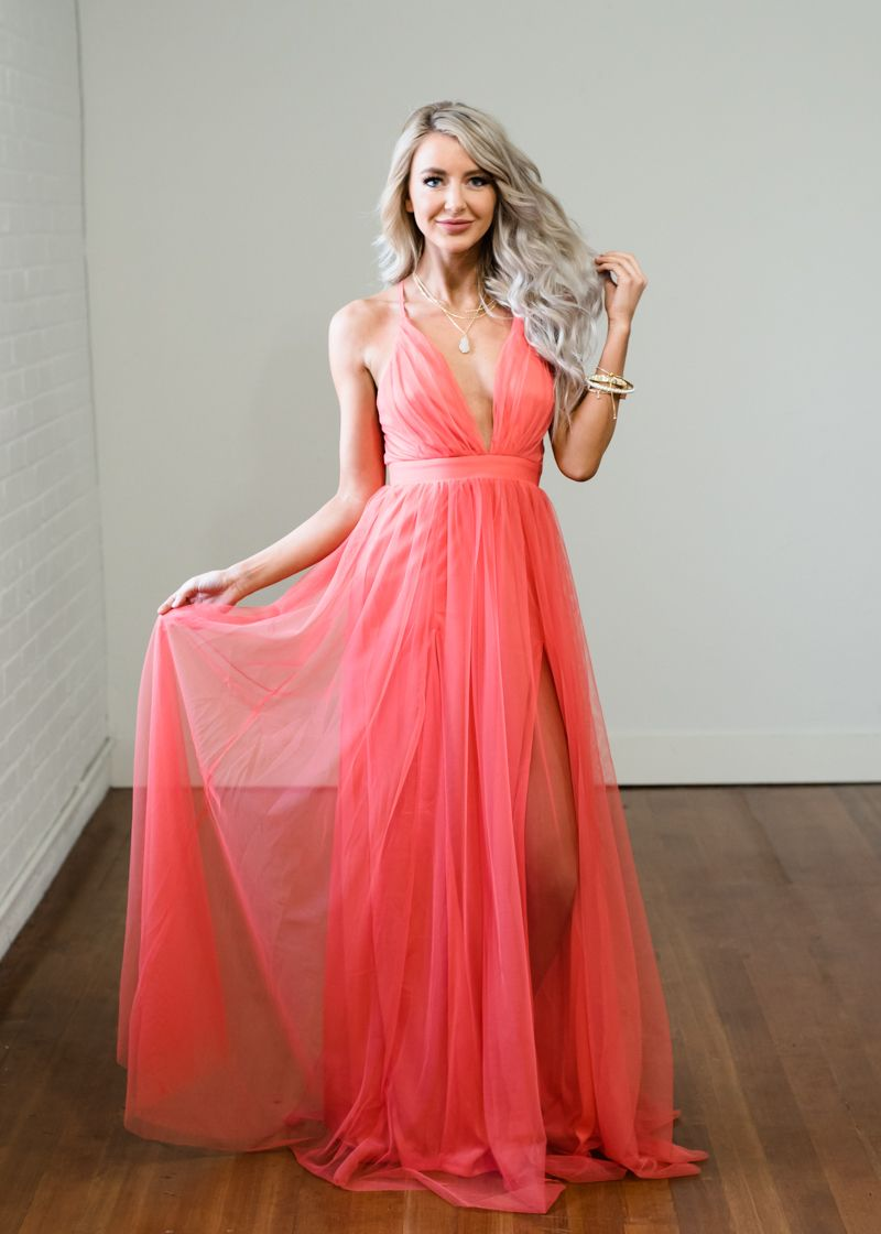 7a0eaf83a3 It Comes Naturally Sheer Coral Maxi Dress - Modern Vintage Boutique ...