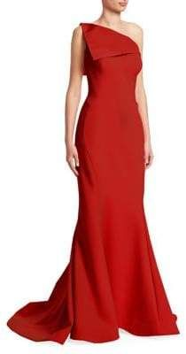 1ad2362414a Zac Posen One-Shoulder Crepe Gown