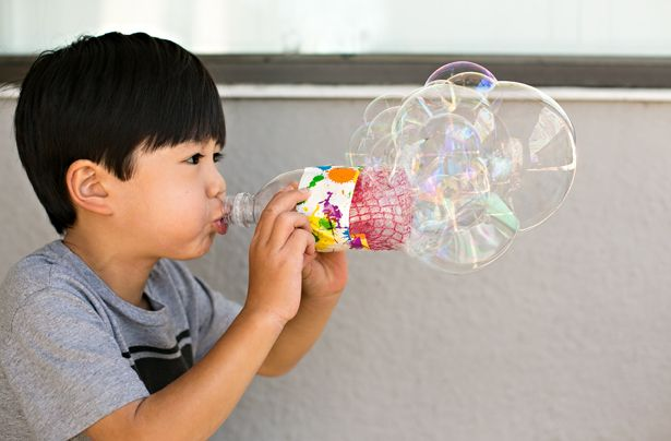 Easy Recycled Bottle Bubble Blower - Diy recycle bottles, Water bottle crafts, Recycled bottle, Recycling projects for kids, Recycled crafts kids, Fun recycled projects - a> to life and ready for play  Practically every piece of these recycling projects can be found right inside your own house  Turn trash to treasure with recycling ideas like these!