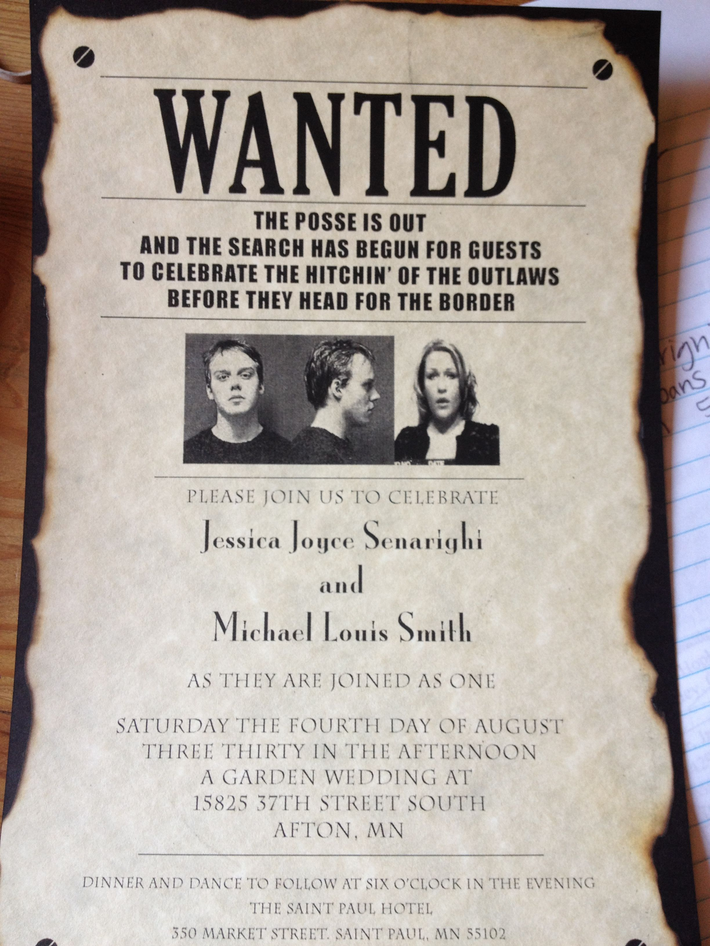 Wedding Invite Wanted Poster And Yes These Are Our Real