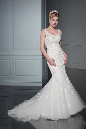 Benjamin Roberts 2409 V Neckline Mermaid Gown With Lace Lique And Back On Detail