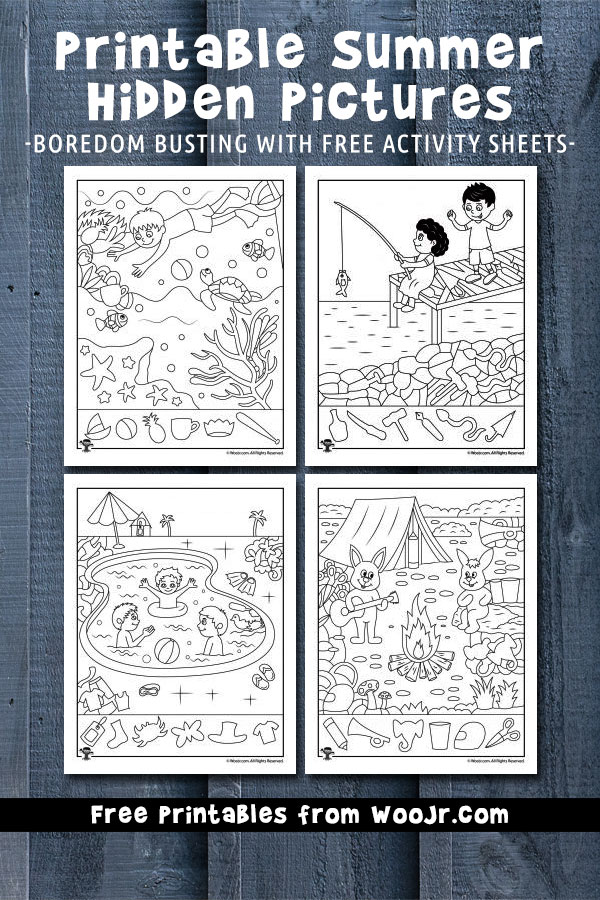 Printable Summer Hidden Picture Activity Pages