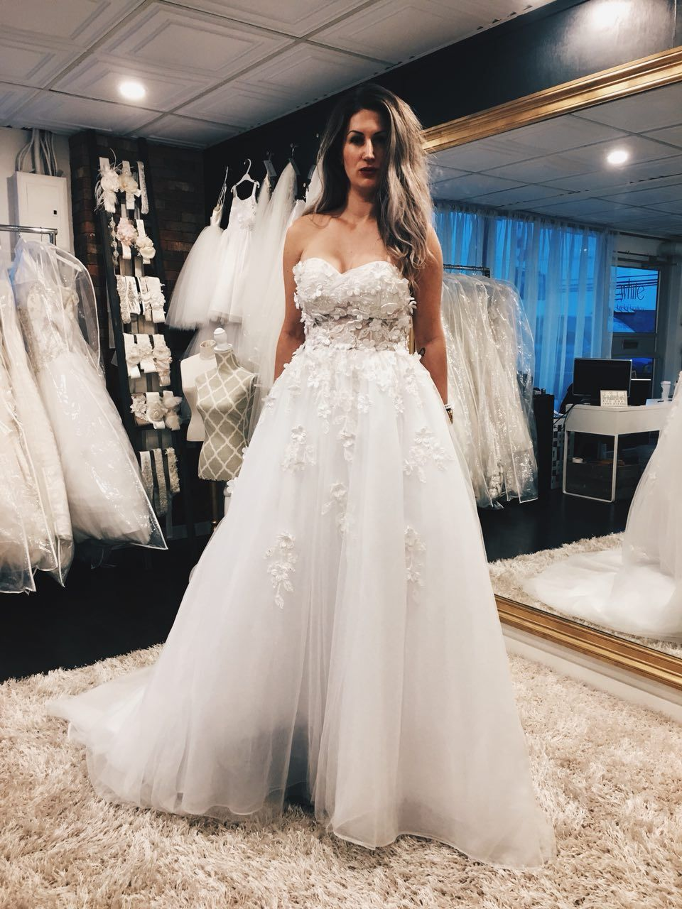 Beautiful bridal dress with little flowers are perfect for your wedding day!