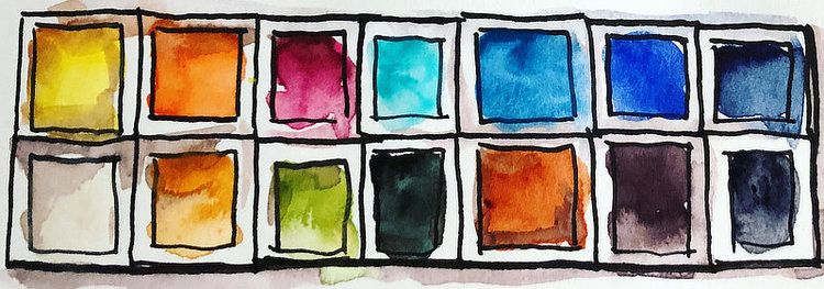 Basic Watercolor Palette 12 Essential Colors Watercolor