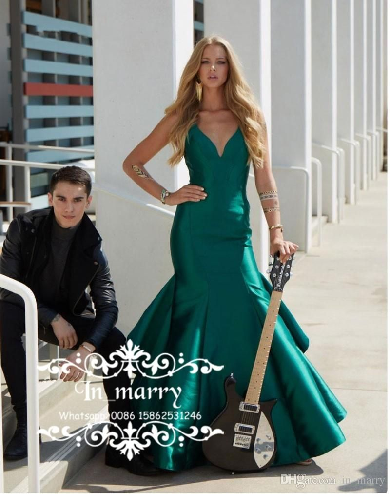 Hunter Green Cheap Simple Mermaid Formal Evening Gowns 2017 Sexy V