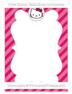 Free Ruby Pink Diagonal Striped Blank Hello Kitty Invitation kitty