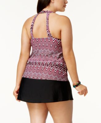 2b03d93f8e8 Island Escape Plus Size Tummy-Control Swim Skirt, Created for Macy's -  Black 18W
