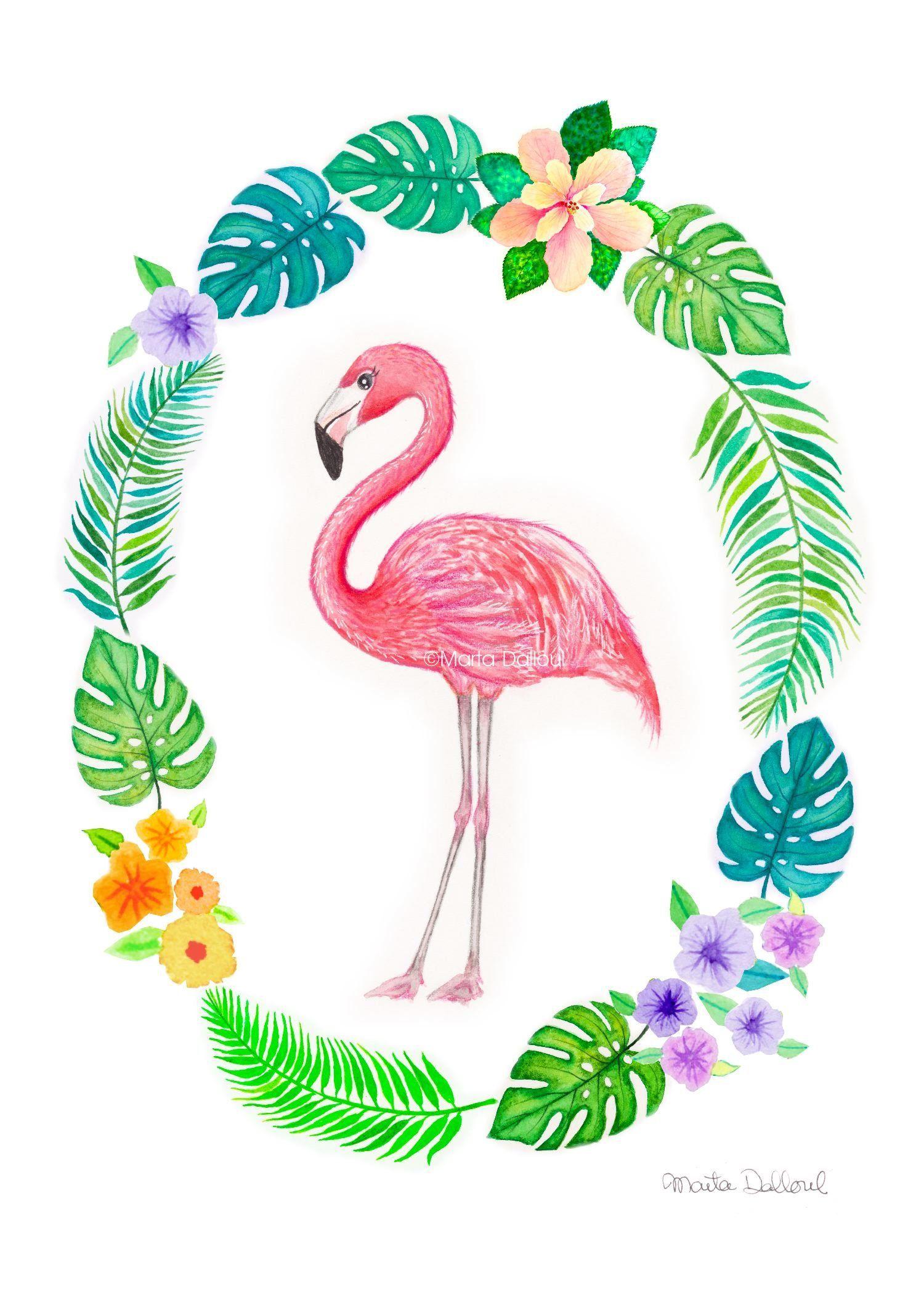 Flamingo Art Print Tropical Flamingo Art Flamingo Watercolor Art