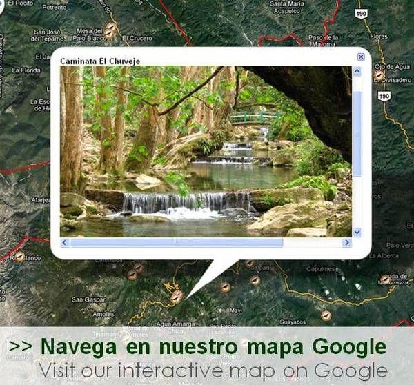 Mapa Google con los ecoalbergues y destinos naturales y culturales en la Reserva de la Biosfera Sierra Gorda (haz click)