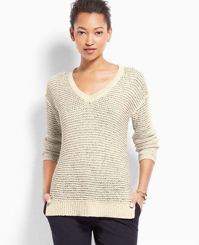 9d1d3c863cd460 Petite Open Knit V-Neck Sweater Neck Wrap
