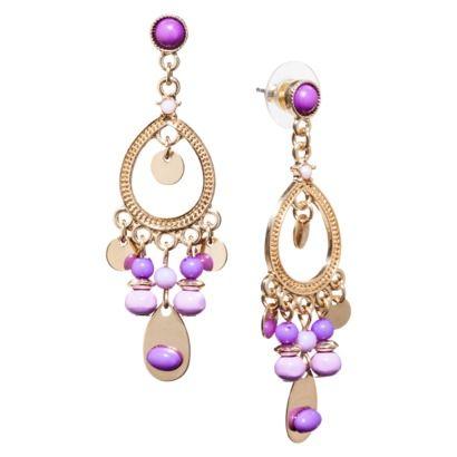 Teardrop Hoop Earrings With Charm Drops - Violet