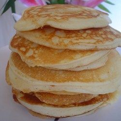 """""""Fluffy pancakes that melt in your mouth. Separating the eggs and folding the whipped whites into the batter, nothing is better. Grills up to a golden brown."""""""