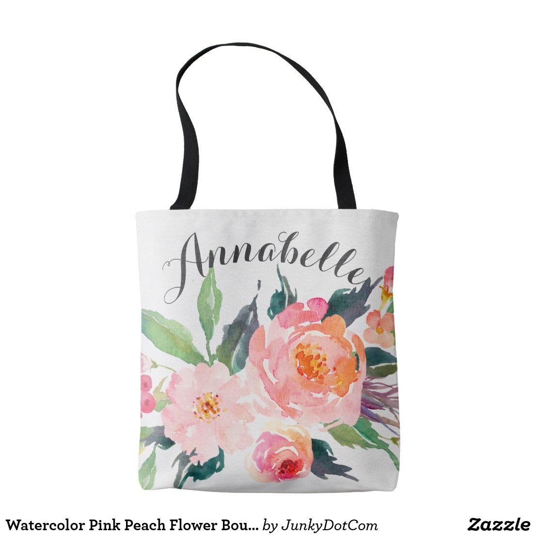 Watercolor Pink Peach Flower Bouquet Tote Bag Zazzle Com Z