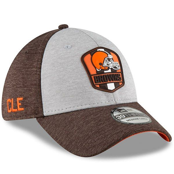 official photos ba6fd 5287d Cleveland Browns New Era 2018 NFL Sideline Road Official 39THIRTY Flex Hat  Heather Gray Brown
