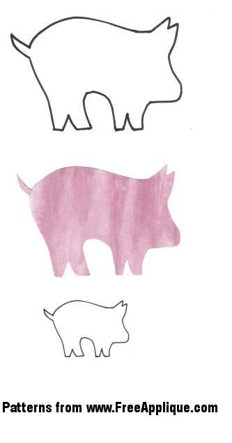 Free applique patterns ! Piggy   here I come :) Pig Pattern