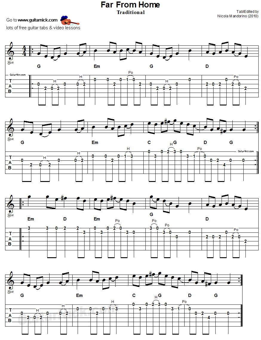 far from home flatpicking guitar tab sheet music 8 music guitar guitar sheet music. Black Bedroom Furniture Sets. Home Design Ideas