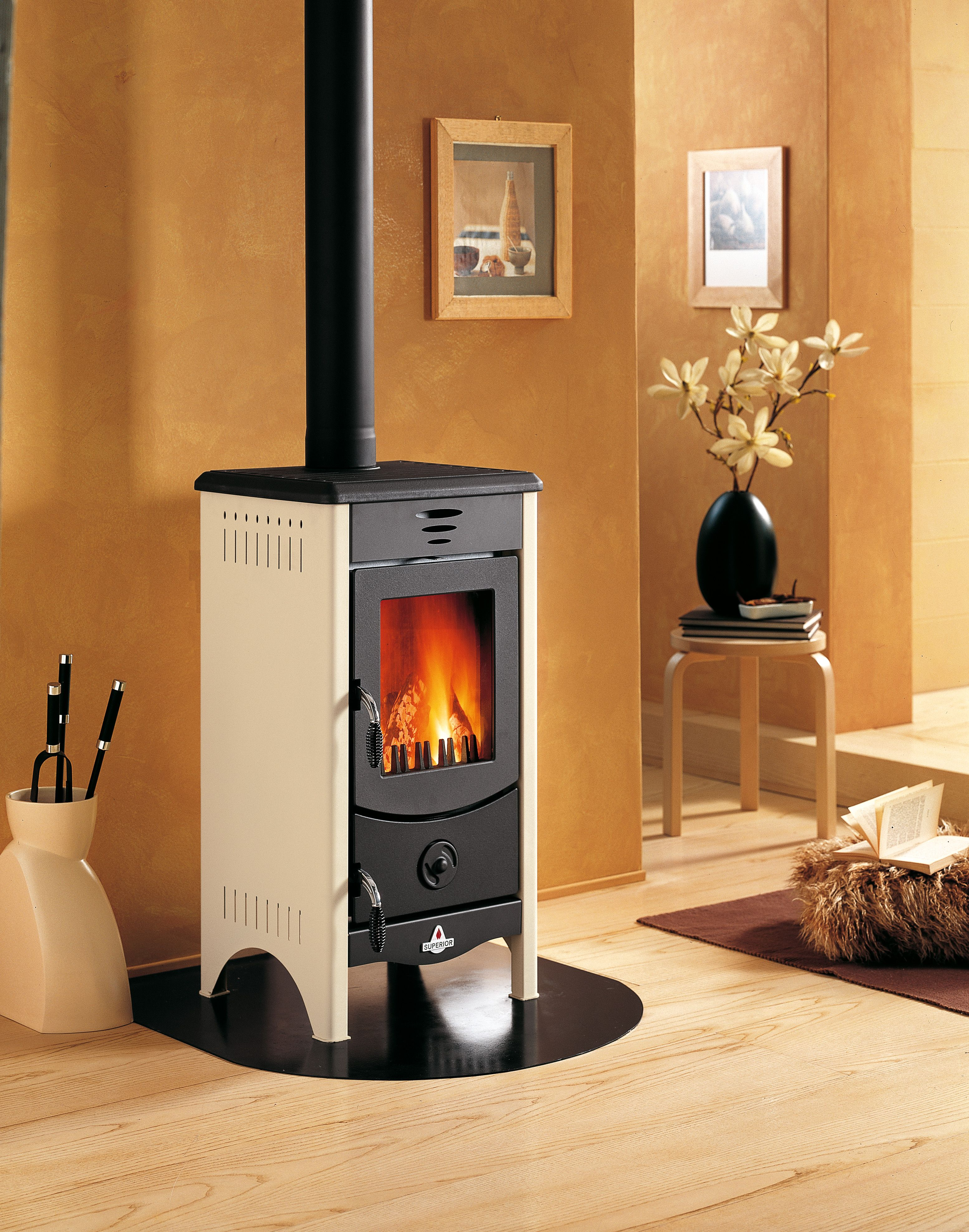 The Micaela Wood Burning Fireplace is a pact free standing