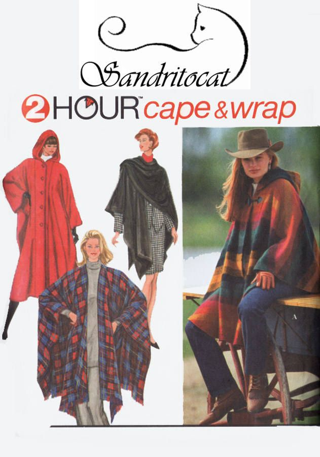 Vintage 90s Womens Cape Sewing Pattern Hooded Capes Cloaks and ...
