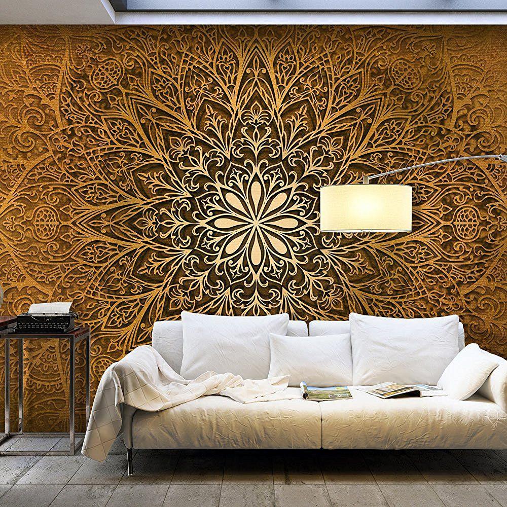 Wohnzimmer | Vlies Fototapete 350x245 cm - Gold - | Walls ...