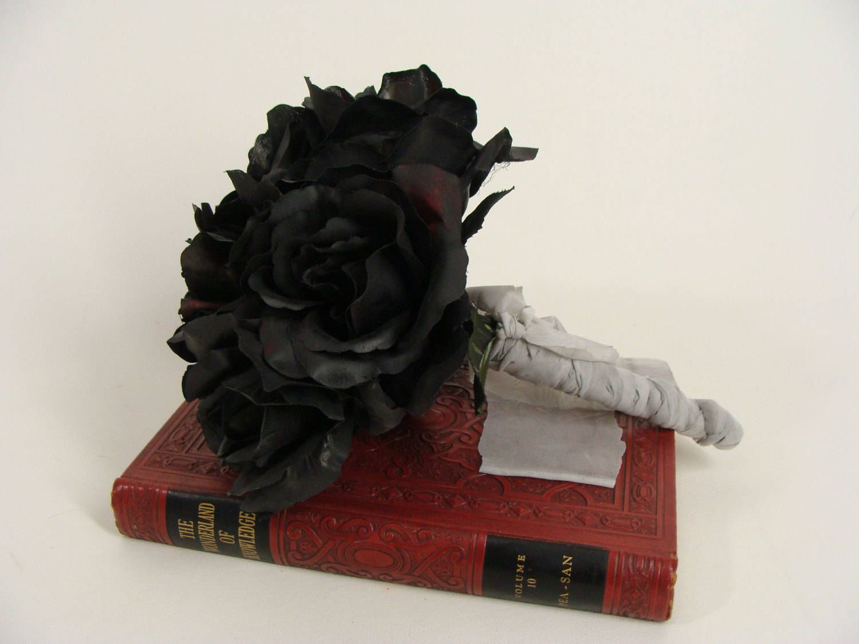 Black Roses Black Rose Flower Bouquet Ooak Corpse Bride Flower