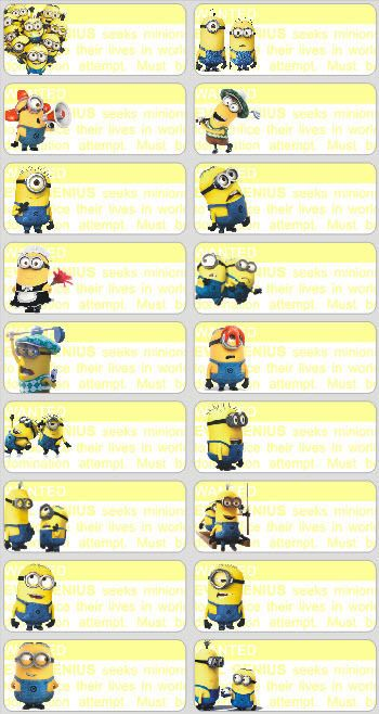 18 minions personalised name label sticker school book despicable me 18 minions personalised name label sticker school vinyl despicable me childcare toneelgroepblik Images