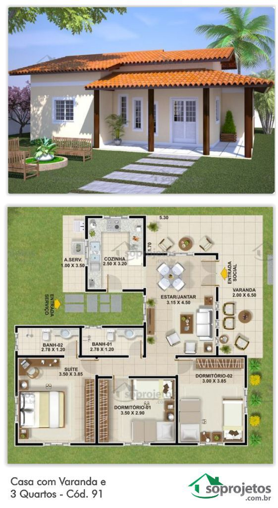 Projeto De Casa Com Varanda E 3 Quartos Cod 91 Plantas De