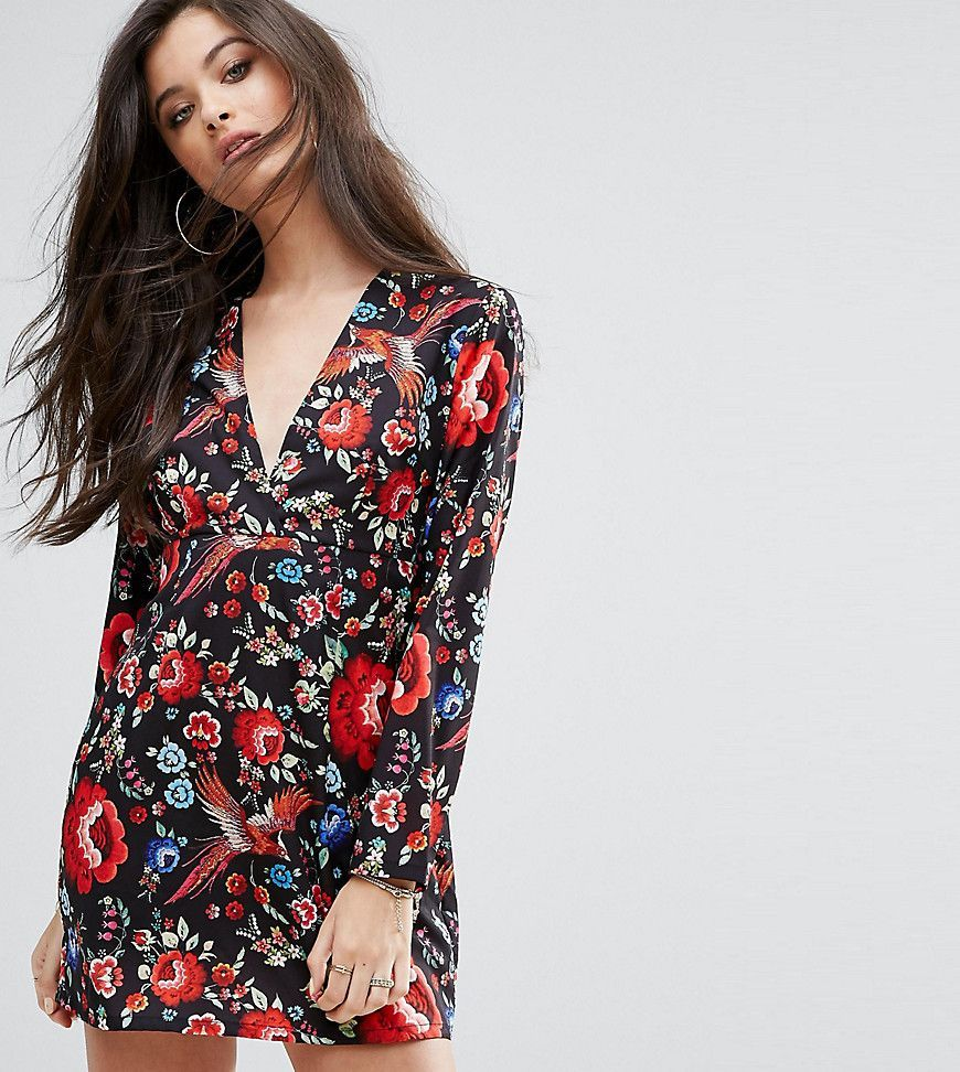 Missguided Petite Floral Print Plunge Dress - Multi