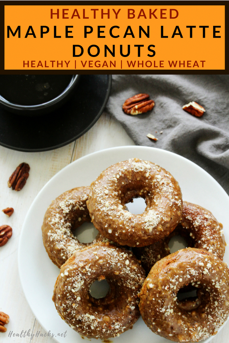 Healthy Whole Wheat Baked Maple Pecan Latte Donuts | This easy healthy dessert recipe is perfect for a quick snack! They're perfect for a homemade treat because you don't have to worry about frying them, but they're no less delicious! These goodies are made with whole wheat flour, are vegan, dairy free, and can even be prepped ahead of time for a healthy breakfast.