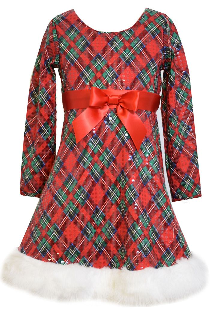 8695fa1f624e Ella Blu Store - Bonnie Jean Christmas Holiday Plaid Sequin Santa Dress  Girls 7-16