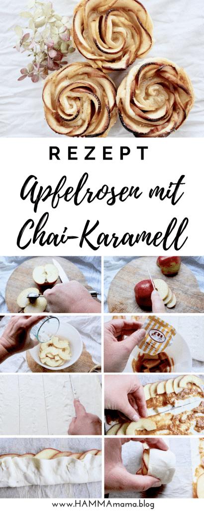 Einfaches Rezept für Apfelrosen im Blätterteig mit Chai-Karamell #blätterteigrosenmitapfel