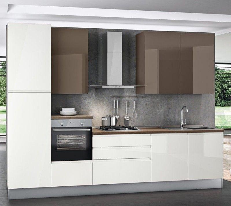 Cucina+componibile+,+Carine.++-+Basi+colore+Bianco+Lucido,+pensili ...