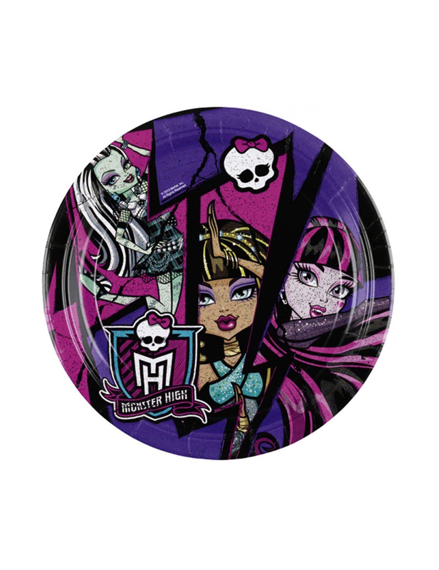 8 Platos De Carton Monster High 18 Cm Este Lote Incluye 8 Platos De Carton Con Licencia