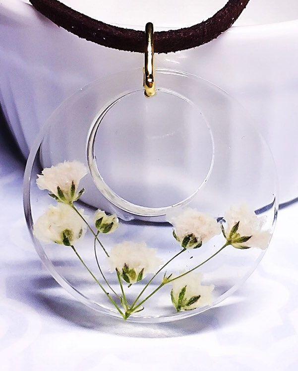 Baby Atem Blume Harz klare Halskette echte getrocknete Blume Harz Halskette – kl…