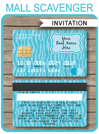 Mall Scavenger Hunt Invitations Template Turquoise Zebra Party Invite Template Tween Birthday Party Mall Scavenger Hunt