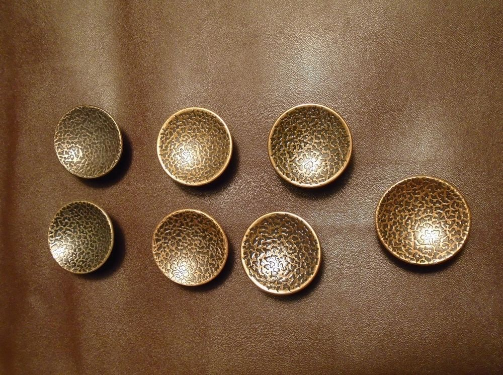 7 vintage concave round hammered copper plated knobs drawer