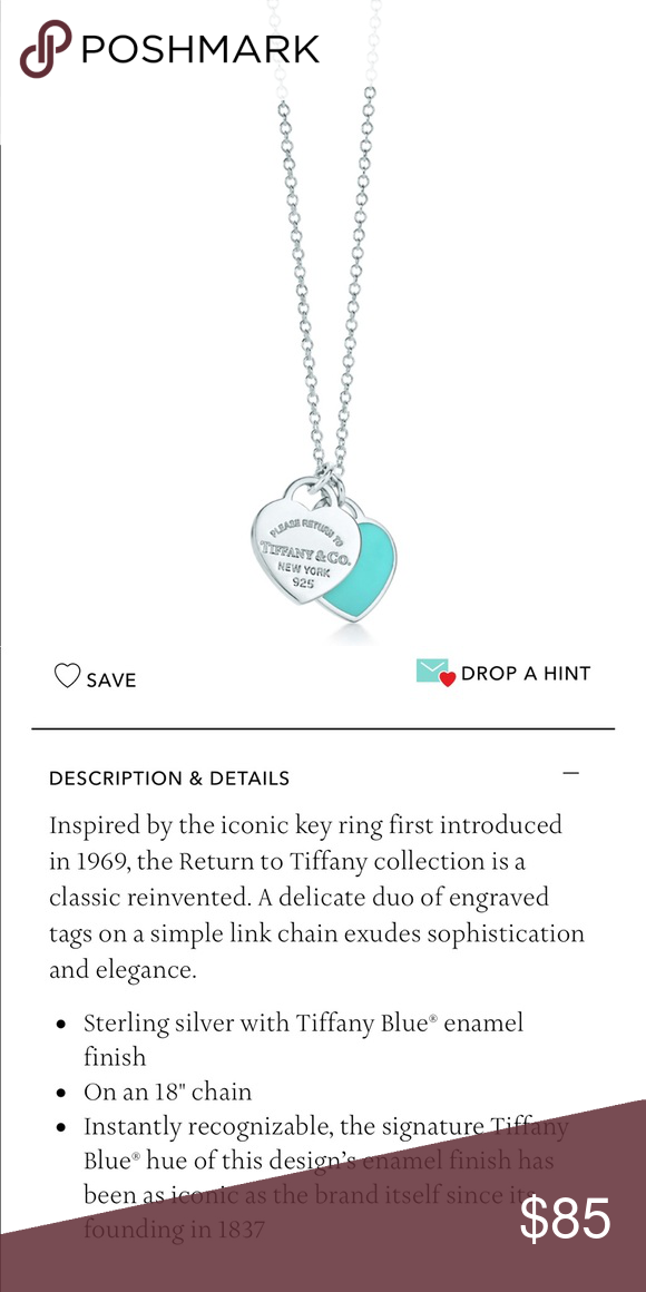 781bd2c17 Mini double heart tag pendant Tiffany Double hearts. Sterling silver and Tiffany  blue enamel hearts. 16 inch chain. Never worn perfect condition Tiffany ...