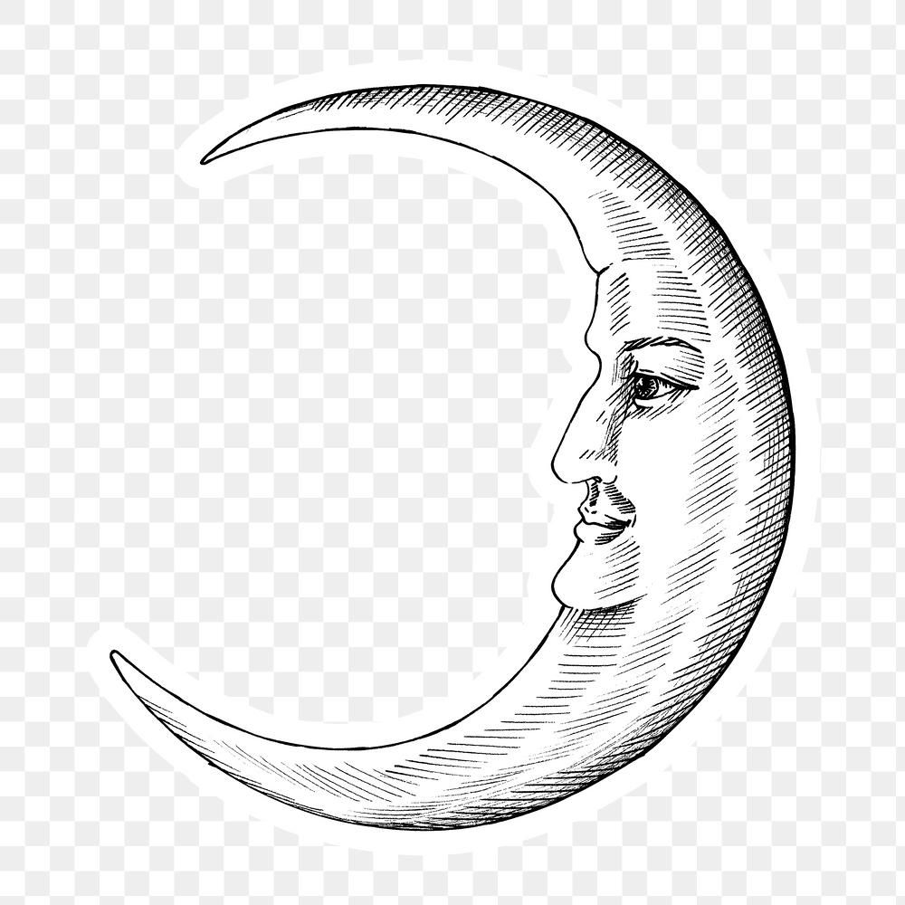 Hand Drawn Crescent Moon With Face Sticker With A White Border Design Element Free Image By Rawpixel Com Hein How To Draw Hands Moon Face Moon Drawing