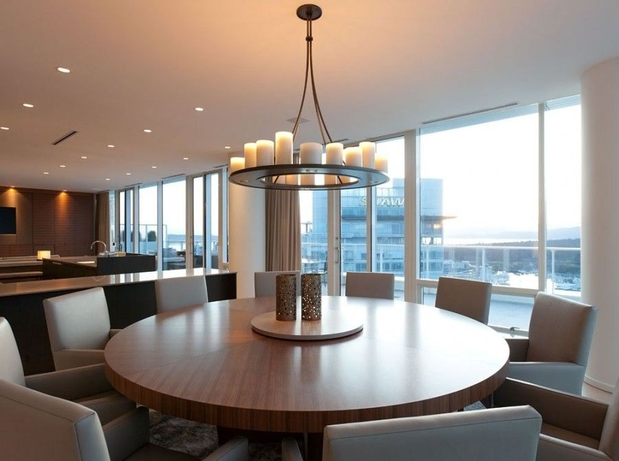 Fancy Deluxe Penthouse Apartment Dining Room With Round Shaped Table Picture