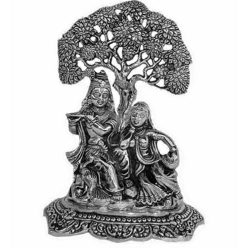 Oxidised Radha Krishna Idol Idol White Metal Krishna