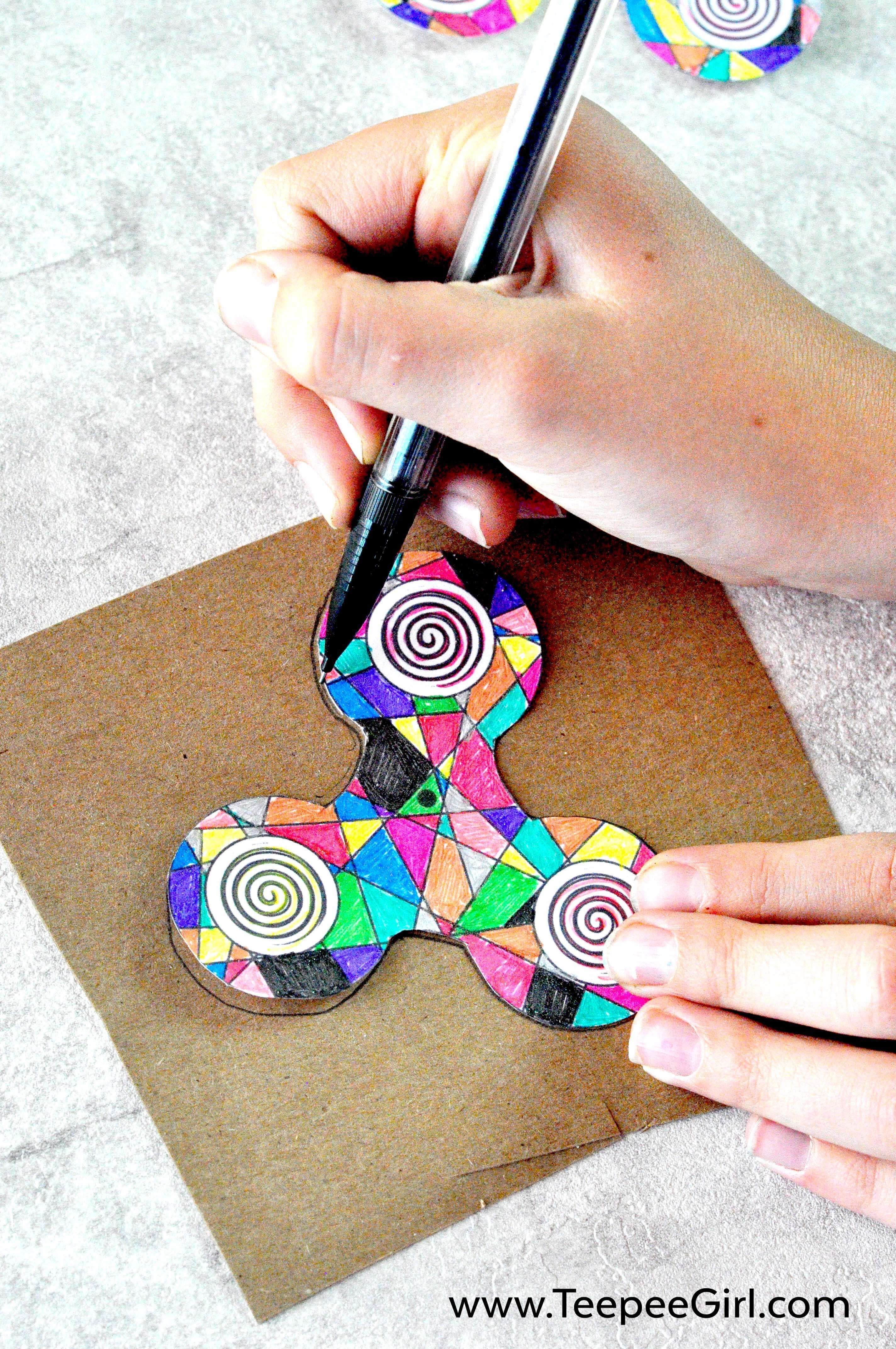 Diy fidget spinnercoloring printable pattern diy fidget