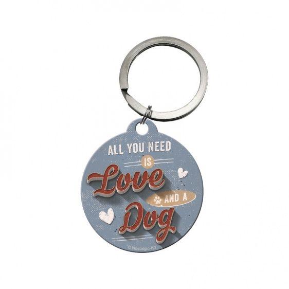 Retro-Schilder Pfotenschild Schlüsselanhänger: Love Dog ...