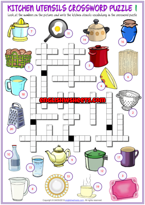 Kitchen Utensils Esl Crossword Puzzle Worksheets For Kids Worksheets For Kids Kitchen Utensils Kids Worksheets Printables