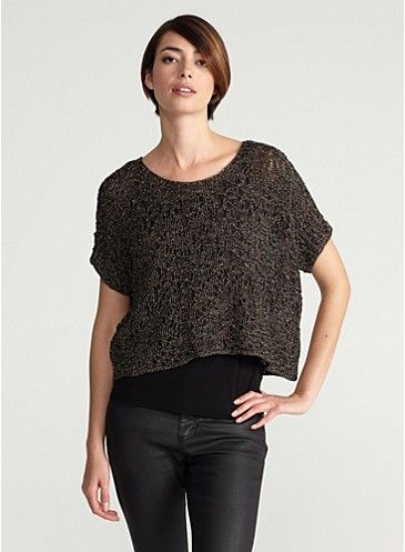 Scoop Neck Dolman Short-Sleeve Box-Top in Wrapped Sparkle Jacquard